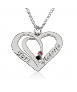 Name necklace love pendant made of 14k real white gold