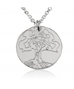 14k solid white gold tree of life pendant