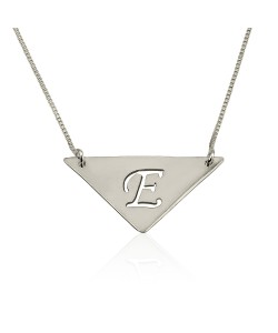 Cute 14K White Gold Triangle Pendant Necklace