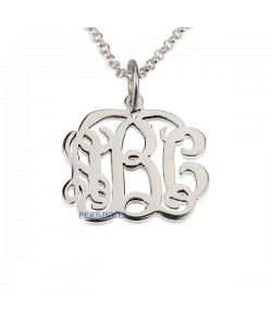 14k White Solid Gold Name Necklace Monogram Font Name Necklace