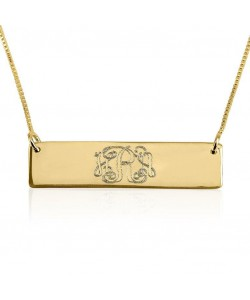 14k solid yellow gold monogram bar necklace