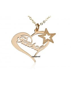 Heart necklace with star