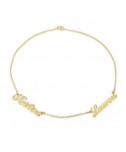 Gold name necklace with up to five names