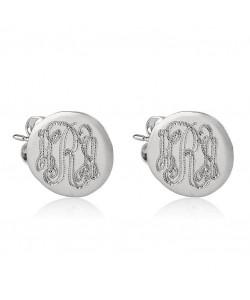 14k White Gold Button Monogram Earrings
