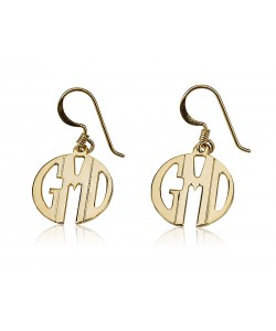 14k Gold Circle Monogram Earrings with Block Font