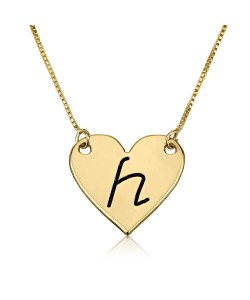 18k Real Gold Name Necklace with Letter on Heart