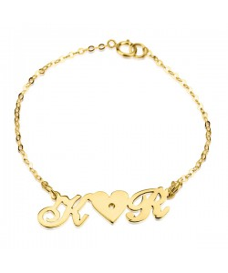 8k Gold Plated 2 Letters and Swarovski Bracelet Jewelry