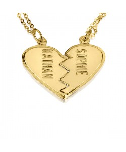 18K Gold Plated Engraved Heart Sweetheart Personalized Jewelry