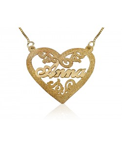 18K Gold Plated Engraved Name Within A Heart Name Necklace