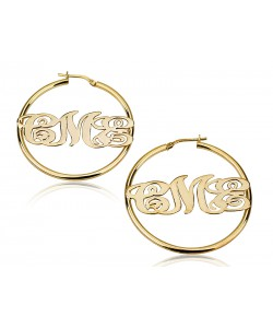 18k Gold Plated Hoop Monogram Earrings