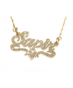 18K Gold Plated Lower Heart Name Necklace Cuts