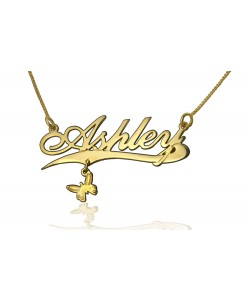Gold Plated Name Necklace Butterfly design personalized jewelry by PersJewel