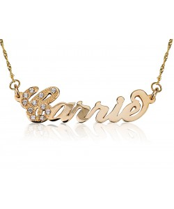 18k Solid Gold Carrie Style First Letter Swarovski  name necklace