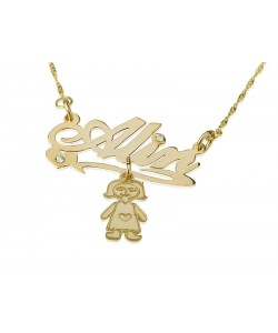 18k Prestige yellow gold name necklace for mother's with birthstone