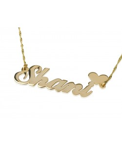 18 karat solid gold name necklace with upper heart personalized jewelry by PersJewel brand