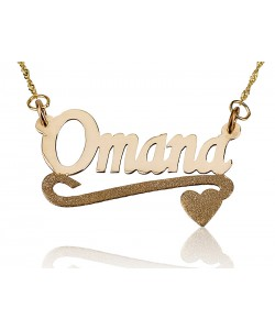 Name necklace Yellow Lower Sparkling Heart Pendant in 18k yellow gold