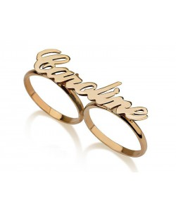 18k Gold Adjacent Finger Rings in Personalized Rings