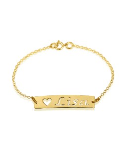Bar Name Bracelet in 18k Solid Yellow Gold