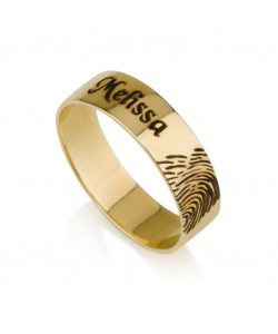 18k Gold Custom Made Name Ring with Fingerprint