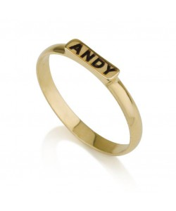 18k Gold Name Ring on Thin Bar
