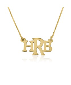 18K Gold Plated 3 Capital Letters Chic Name Necklace