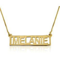 18K Solid Yellow Gold Handmade Bar Name Necklace