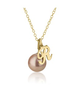 18K Solid Yellow Gold Initial Necklace with Pearl