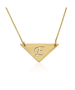 18K Solid Yellow Gold Triangle Pendant with Initial Engraved
