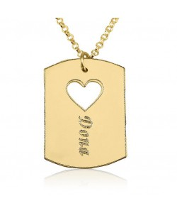 14k solid yellow parallelogram pendant w/ a heart and name