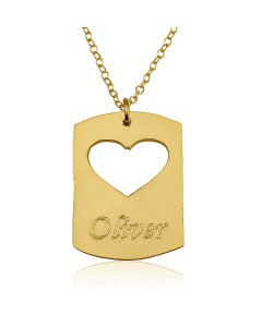 18K Solid Yellow Gold Disc Name Necklace with Heart