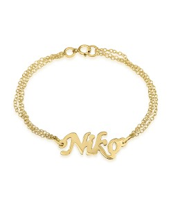 18k Solid Yellow Gold Double Chain Name Bracelet