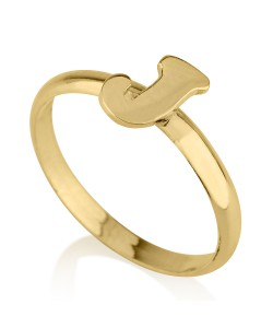 18k Solid Yellow Gold Trendy Initial Ring