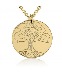 18k solid yellow gold tree of life necklace