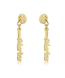 18k Solid Yellow Gold Vertical Name Earrings