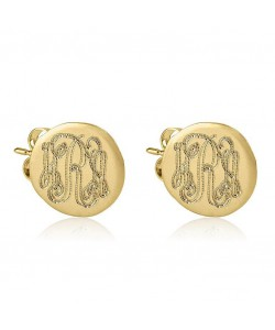 18k Gold Plated Button Shaped Engraved Monogram Earrings