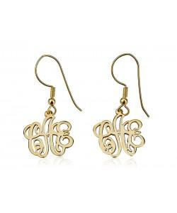 18k Gold Plated Drop Monogram Earrings
