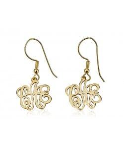 18k Gold Drop Interlocking Monogram Earrings