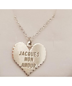 Jacques Mon Amour 10K Solid Yellow Gold Heart - Engraved Name Necklace