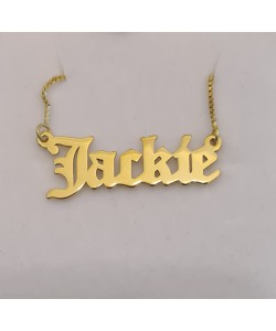 18K Gold Plated Old English Style Jackie Name Necklace