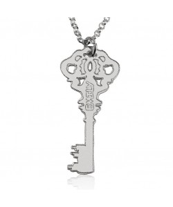 14k white gold key necklace