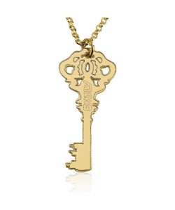 14k yellow gold key charm pendant name necklace
