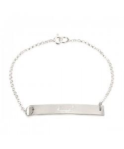 Sterling Silver Stenciled Bar Personalized Bracelet