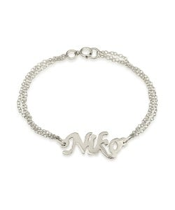 Ankle bracelet with name in 14k white gold and double chain