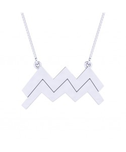 Aquarius zodiac sign necklace in 14k white solid gold