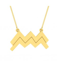 Aquarius zodiac sign necklace in yellow gold