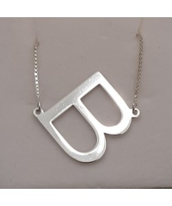 "Slanted Initial ""B"" Necklace in white solid gold Personalized jewelry"