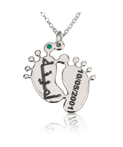 Baby feet name necklace with birthstone andn black engraving
