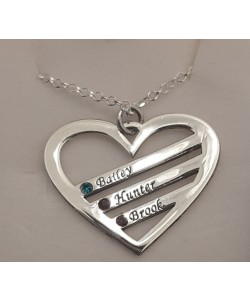 Bailey, Hunter, Brook sterling silver Birthstone Heart Engraved Names