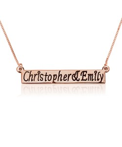 Bar Rose Name Necklace 18k Gold Plating
