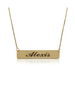 Bar gold name necklace with black engraving in 14k solid yellow gold